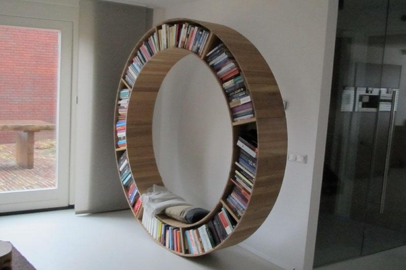 ronde eiken boekenkast eigen ontwerp diverse afmetingen indelingen en kleuren mogelijk een