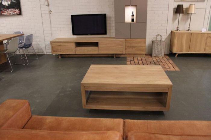 Salontafel Jose met twee laden. Op maat gemaakt in eigen meubelmakerij. Wij maken meubels op maat > Bezoek onze WOONWINKEL & MEUBELMAKERIJ > Gendt regio Gelderland.